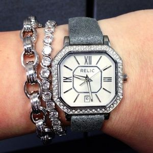 Relic leather and crystal Watch
